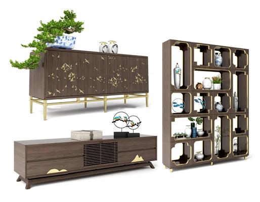 新中式实木电视柜边柜装饰柜摆件组合3D模型【ID:97028456】