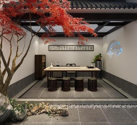 新中式阳台茶室3D模型【ID:97029293】