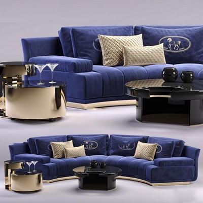 现代布艺弧形多人沙发茶几组合3D模型【ID:97031490】