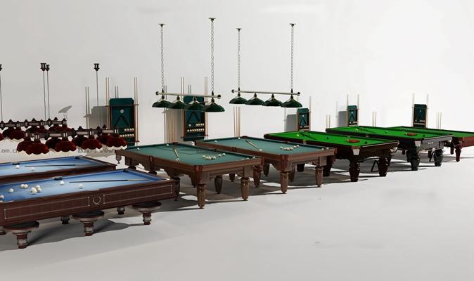欧式台球桌吊灯组合3D模型【ID:97032196】