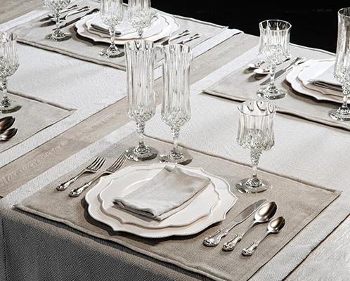 现代玻璃杯餐具组合3D模型【ID:97035431】