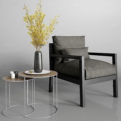 现代灰色布艺沙发圆几花艺3D模型【ID:97037863】