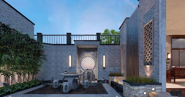 中式庭院花园3D模型【ID:97038798】