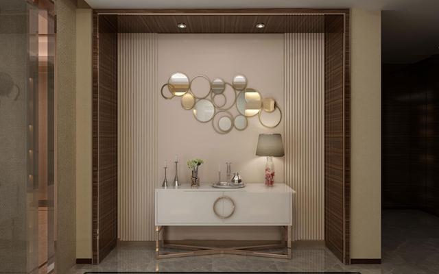 现代玄关端景柜台灯摆件组合3D模型【ID:97040214】