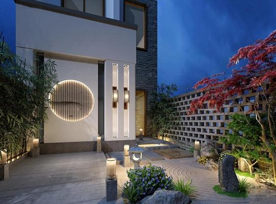 中式别墅庭院花园3D模型【ID:97042990】