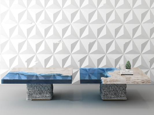 现代大理石玻璃面茶几背景墙组合3D模型【ID:97043169】