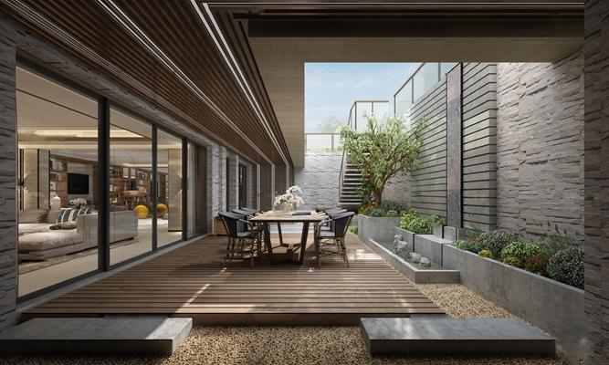 现代庭院花园餐桌椅组合3D模型【ID:97043298】