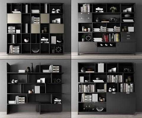 现代书柜装饰架书籍摆件组合3D模型【ID:97044756】