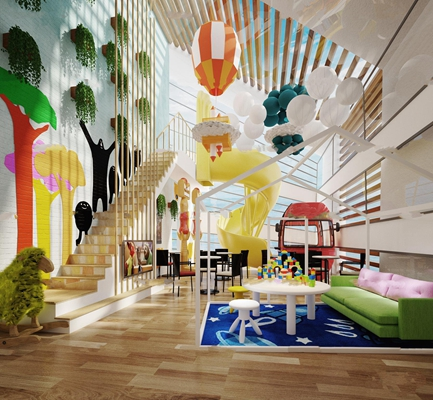 现代幼儿园童趣活动室游乐区3D模型【ID:97045331】