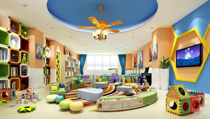 现代幼儿园阅览室3D模型【ID:97045332】