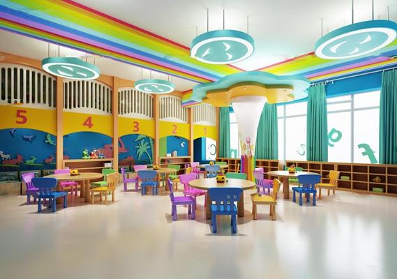 现代幼儿园教室3D模型【ID:97045337】