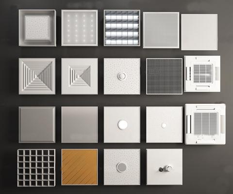 现代无尘板空调出风口排气扇组合3D模型【ID:97045650】