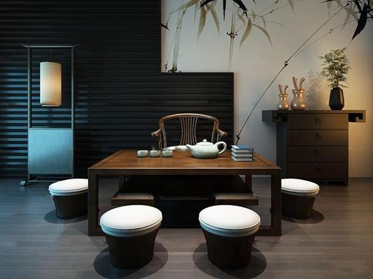 新中式茶几桌椅组合3D模型【ID:97046863】