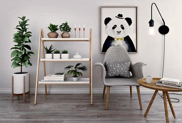 北欧植物装饰架休闲椅装饰画组合3D模型【ID:97047820】