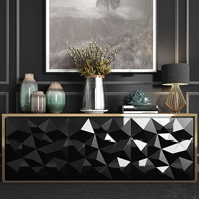 现代边柜台灯陶器花艺饰品组合3D模型