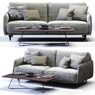现代布艺双人沙发茶几组合3D模型【ID:97050071】