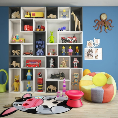 现代儿童玩具架休闲沙发组合3D模型【ID:97050122】