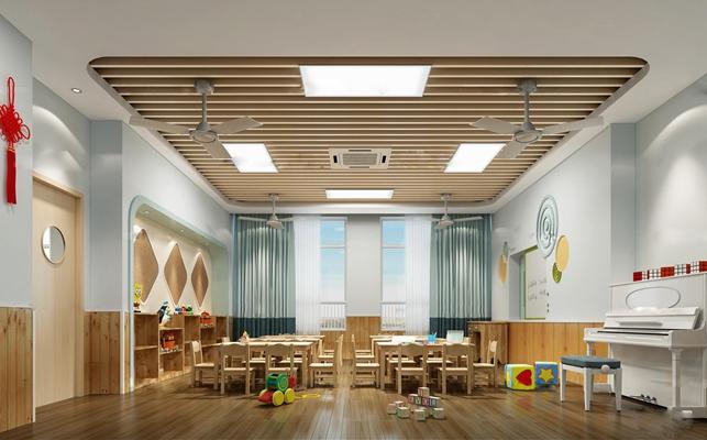 现代儿童教室活动室钢琴组合3D模型【ID:97050136】