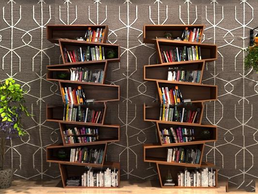 现代实木书架书籍组合3D模型【ID:97050358】