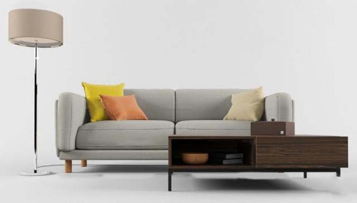 现代布艺双人沙发茶几落地灯组合3D模型【ID:97051479】