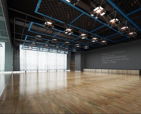 工业风舞蹈室前台休息区组合3D模型【ID:97052238】