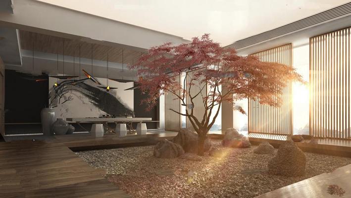 中式庭院阳台茶台组合3D模型【ID:97053899】