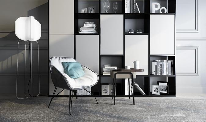 现代个性单椅书柜组合3D模型【ID:97054254】