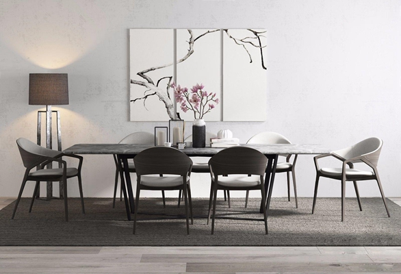 新中式桌椅3D模型【ID:97054563】