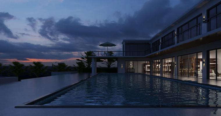 现代别墅外观含夜景3D模型【ID:97055082】