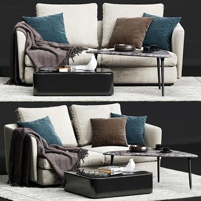 现代布艺双人沙发茶几地毯组合3D模型【ID:97055179】