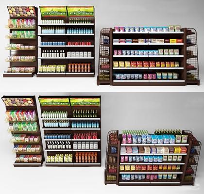 现代超市零食饮料货架商展柜组合3D模型【ID:97055321】