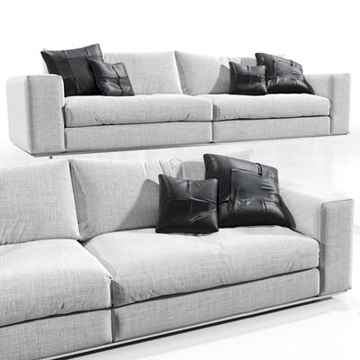 现代布艺双人沙发3D模型【ID:97056373】