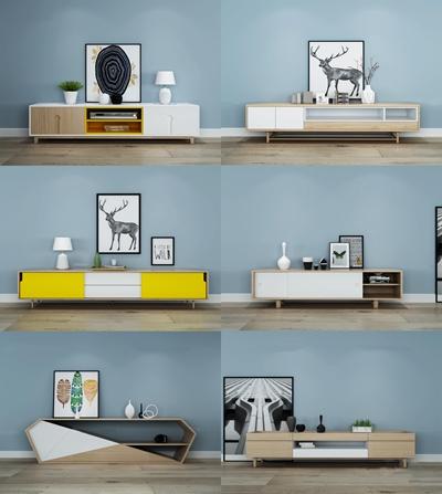 北欧实木电视柜台灯装饰画摆件组合3D模型【ID:97056801】