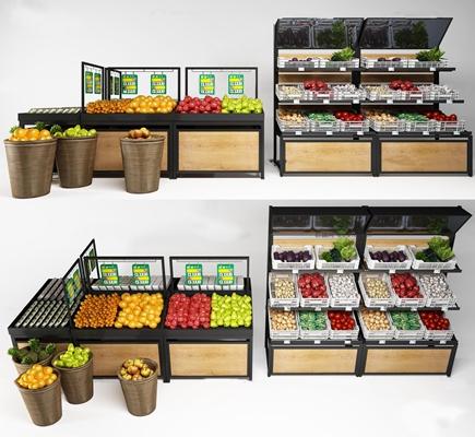 现代超市蔬菜水果货架组合3D模型【ID:97057325】