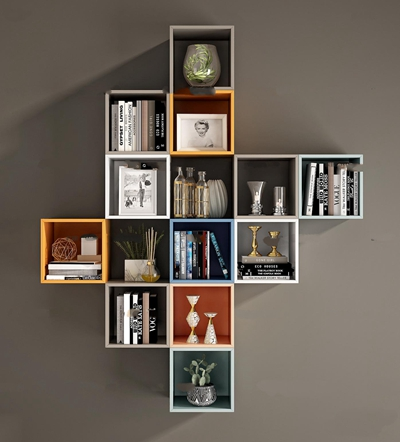 现代书架书籍摆件组合3D模型【ID:97057550】