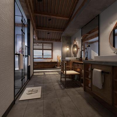 中式民俗客房卫生间3D模型【ID:97057787】