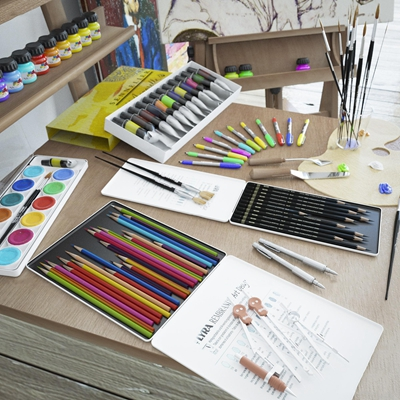 现代画架水粉铅笔炭笔组合3D模型【ID:97060104】