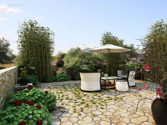 现代花园露台3D模型【ID:97062393】