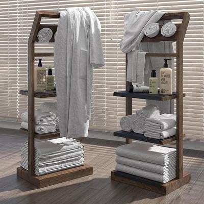 现代毛巾浴袍卫浴柜架组合3D模型【ID:97063247】