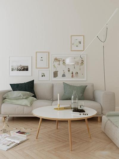 北欧布艺沙发圆形茶几落地灯装饰画摆件3D模型【ID:97063278】