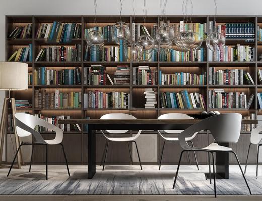 现代桌椅书柜书籍吊灯组合3D模型【ID:97064754】