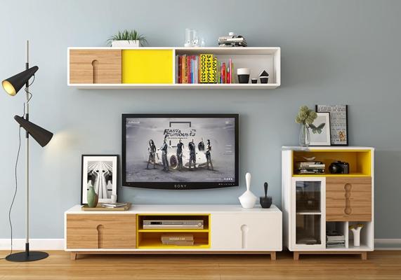 北欧电视柜显示器边柜装饰柜落地灯书籍摆件3D模型【ID:97064809】