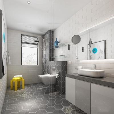 现代卫浴空间3d模型【ID:97066148】