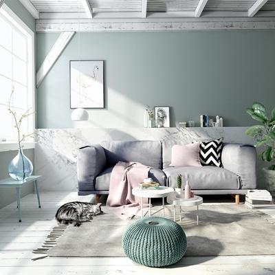 北欧客厅双人沙发3d模型【ID:97066370】