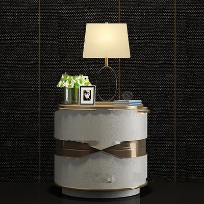 现代金属皮革床头柜台灯装饰画组合3D模型【ID:97066466】