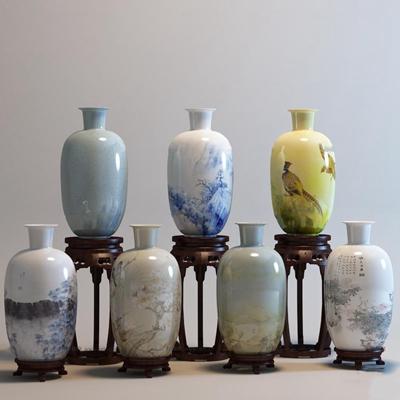 中式陶瓷花瓶花架组合3D模型【ID:97067412】
