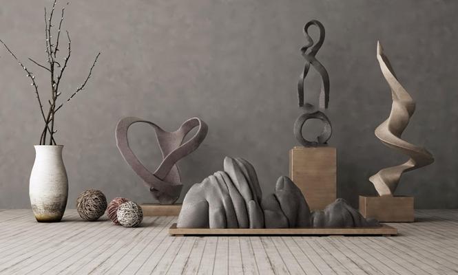 中式假山花瓶雕塑摆件组合3D模型【ID:97067618】