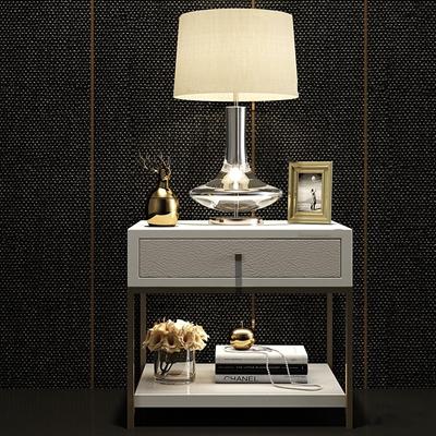 现代金属床头柜台灯花瓶相框组合3D模型【ID:97067660】