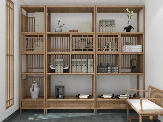 新中式书柜置物架3d模型【ID:97068452】