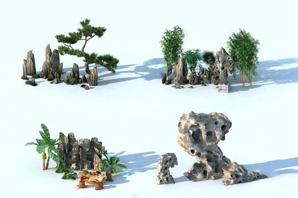 现代假山3D模型【ID:124881237】